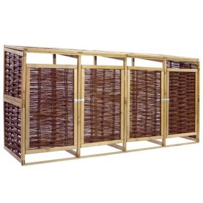 Emaga vidaxl osłona na 4 kosze na śmieci, drewno sosnowe i wiklina