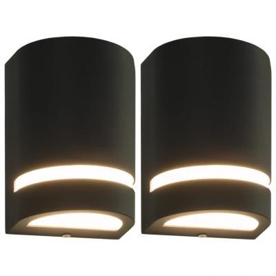 Emaga vidaxl zewnętrzne lampy ścienne, 2 szt., 35 w, czarne, półokrągłe