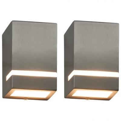 Emaga vidaxl zewnętrzne lampy ścienne, 2 szt., 35 w, srebrne, prostokątne