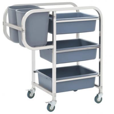 Emaga vidaxl wózek kuchenny z plastikowymi pojemnikami, 87x43,5x92 cm