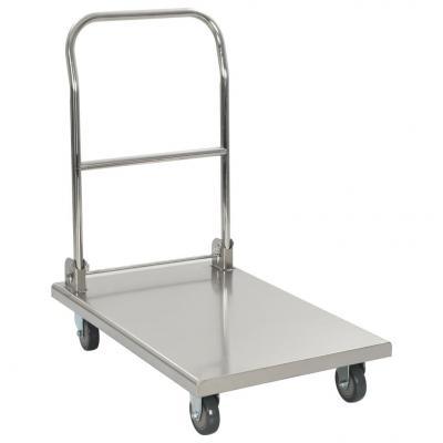 Emaga vidaxl wózek platformowy, srebrny, 82x53x86 cm, stal nierdzewna