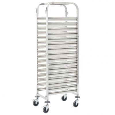 Emaga vidaxl wózek kuchenny na 16 tac, 65,5x48,5x165 cm, stal nierdzewna
