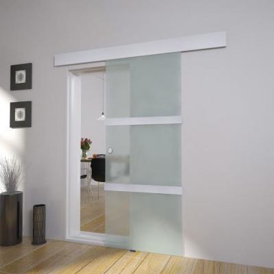 Emaga vidaxl drzwi przesuwne, szkło i aluminium, 178 cm, srebrne