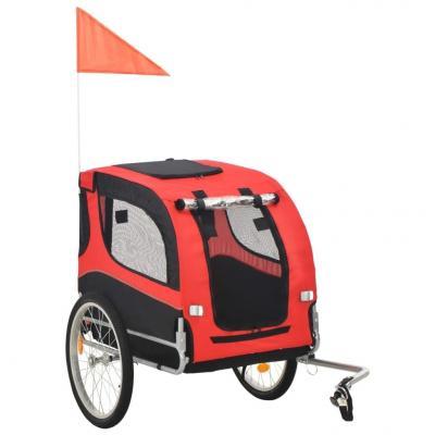 Emaga vidaxl przyczepka rowerowa dla psa, czerwono-czarna
