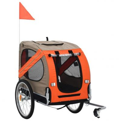 Emaga vidaxl przyczepka rowerowa dla psa, pomarańczowo-brązowa