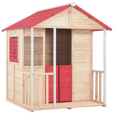 Emaga vidaxl domek do zabawy dla dzieci, drewno jodłowe, czerwony