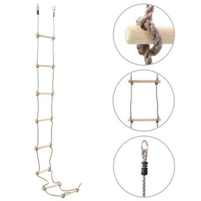 Emaga vidaxl drabinka sznurowa dla dzieci, 290 cm, drewniana