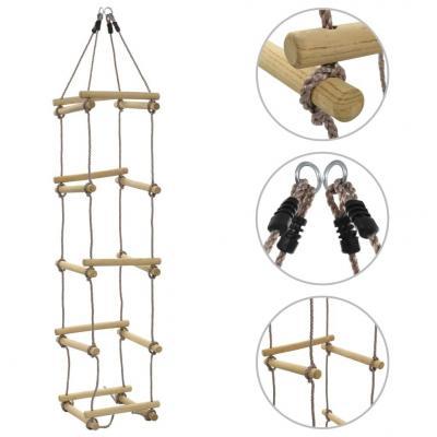 Emaga vidaxl drabinka sznurowa dla dzieci, 200 cm, drewniana