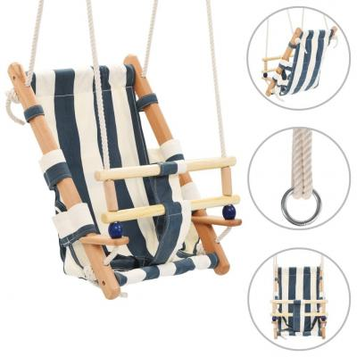 Emaga vidaxl huśtawka dla dzieci z pasem, bawełna i drewno, niebieska