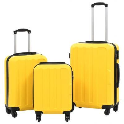 Emaga vidaxl zestaw twardych walizek, 3 szt., żółte, abs