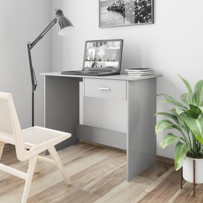 Emaga vidaxl biurko, wysoki połysk, szare, 100x50x76 cm, płyta wiórowa