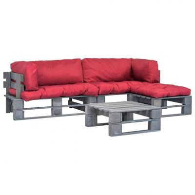 Emaga vidaxl 4-cz. zestaw ogrodowy, czerwone poduszki, palety z drewna
