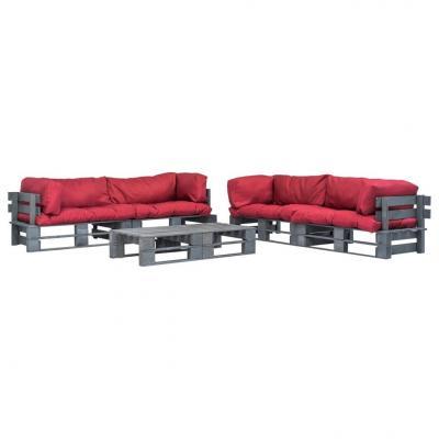 Emaga vidaxl 6-cz. zestaw ogrodowy, czerwone poduszki, palety z drewna