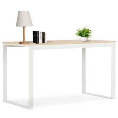 Emaga vidaxl biurko komputerowe, biało-dębowe, 120 x 60 x 73 cm