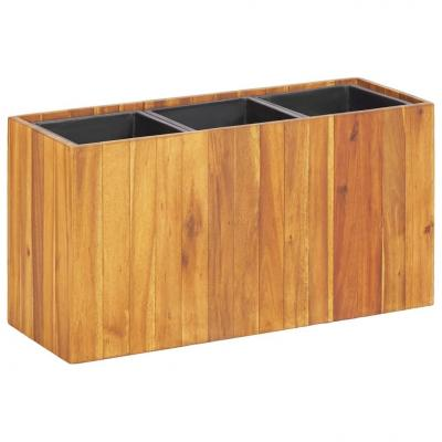 Emaga vidaxl podwyższona donica ogrodowa z 3 wkładami, lite drewno akacjowe