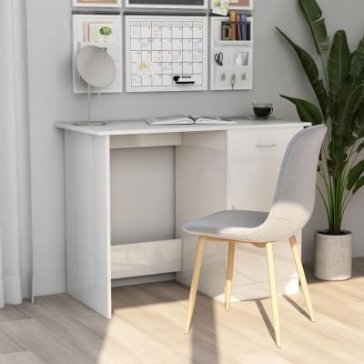 Emaga vidaxl biurko, wysoki połysk, białe, 100x50x76 cm, płyta wiórowa