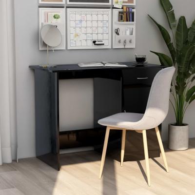 Emaga vidaxl biurko, wysoki połysk, czarne, 100x50x76 cm, płyta wiórowa