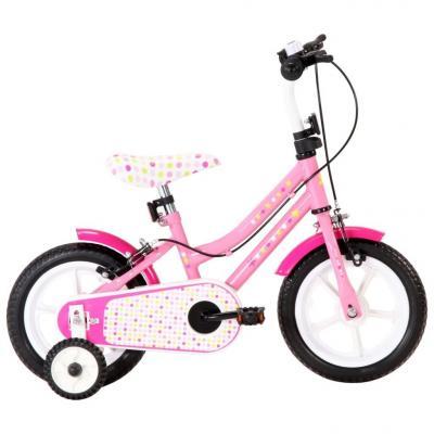 Emaga vidaxl rower dla dzieci, 12 cali, biało-różowy