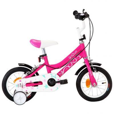 Emaga vidaxl rower dla dzieci, 12 cali, czarno-różowy