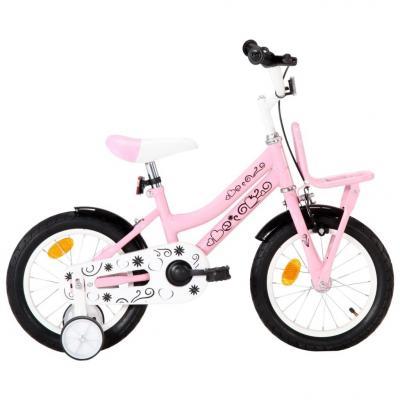 Emaga vidaxl rower dla dzieci z bagażnikiem, 14 cali, biało-różowy