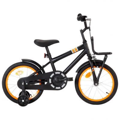 Emaga vidaxl rower dla dzieci z bagażnikiem, 16 cali, czarno-pomarańczowy