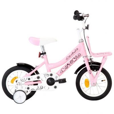 Emaga vidaxl rower dla dzieci z bagażnikiem, 12 cali, biało-różowy