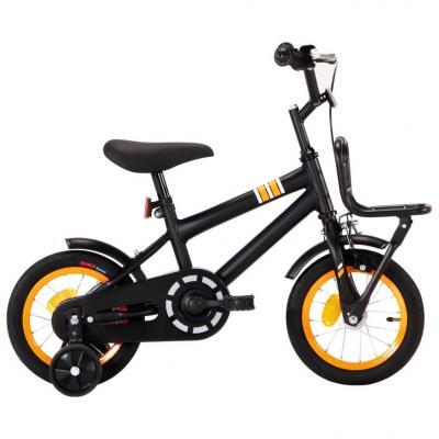 Emaga vidaxl rower dla dzieci z bagażnikiem, 12 cali, czarno-pomarańczowy