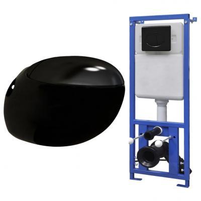 Emaga vidaxl podwieszana toaleta owalna, zbiornik podtynkowy, czarna