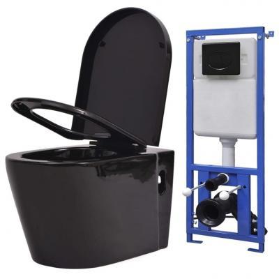 Emaga vidaxl podwieszana toaleta ceramiczna ze spłuczką podtynkową, czarna