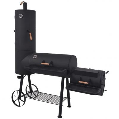 Emaga vidaxl grill węglowy z wędzarnią i dolną półką, czarny, xxl