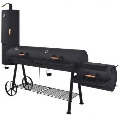 Emaga vidaxl grill węglowy z wędzarnią i dolną półką, czarny, solidny, xxxl