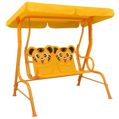 Emaga vidaxl huśtawka dla dzieci, żółta, 115x75x110 cm, tkanina