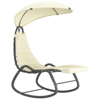 Emaga vidaxl ogrodowe krzesło bujane, kremowe, 160x80x195 cm, tkanina