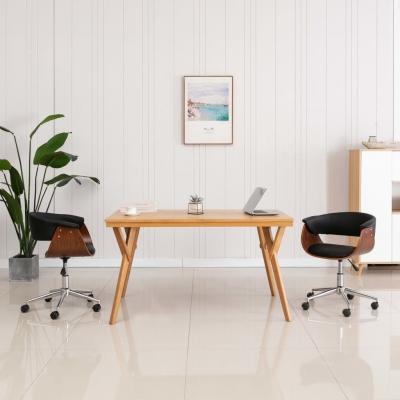 Emaga vidaxl obrotowe krzesło biurowe, czarne, gięte drewno i sztuczna skóra