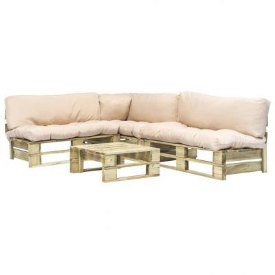 Emaga vidaxl 4-cz. zestaw ogrodowy, piaskowe poduszki, palety z drewna