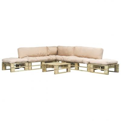 Emaga vidaxl 6-cz. zestaw ogrodowy, piaskowe poduszki, palety z drewna
