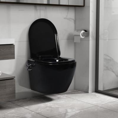 Emaga vidaxl wisząca toaleta bez kołnierza, funkcja bidetu, ceramika, czarna
