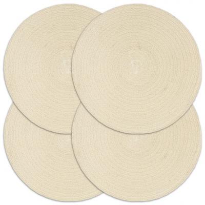 Emaga vidaxl maty na stół, 4 szt., gładkie, naturalne, 38 cm, okrągłe