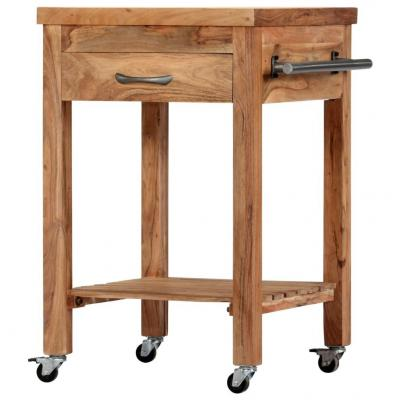 Emaga vidaxl wózek kuchenny, 58 x 58 x 89 cm, lite drewno akacjowe