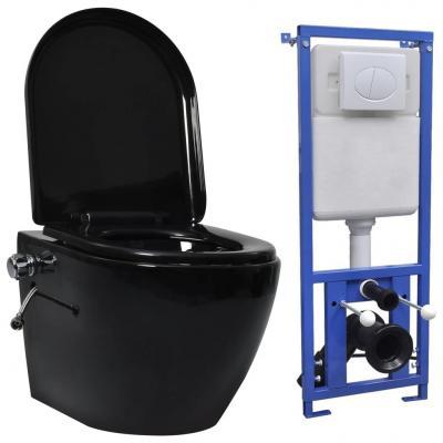 Emaga vidaxl toaleta bezkołnierzowa ze spłuczką podtynkową, ceramika, czarna