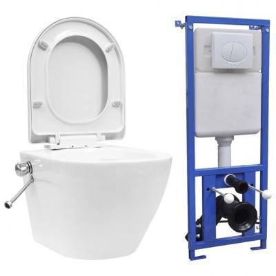 Emaga vidaxl toaleta bezkołnierzowa ze spłuczką podtynkową, ceramika, biała