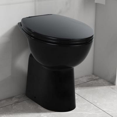 Emaga vidaxl wysoka toaleta bez kołnierza, ciche zamykanie, ceramika, czarna