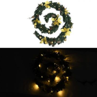 Emaga vidaxl świąteczna girlanda z lampkami led, zielona, 2,7 m, pvc