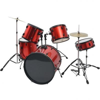Emaga vidaxl kompletna perkusja w kolorze czerwonym