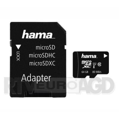 Hama microSDHC 64GB Class 10 UHS-I 80MB/s + Adapter SD
