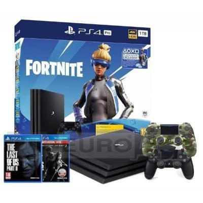 Sony PlayStation 4 Pro 1TB Fortnite Neo Versa Bundle + The Last of Us + The Last of Us Part II + 2 pady