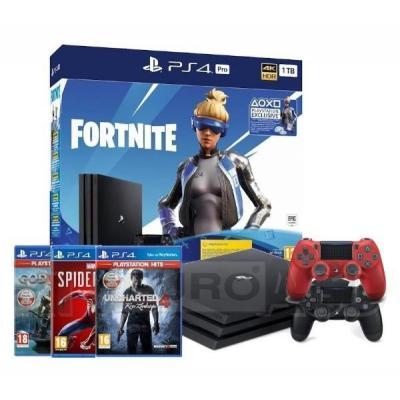 Sony PlayStation 4 Pro 1TB Fortnite Neo Versa Bundle + Spider-Man + God of War + Uncharted 4 + 2 pady