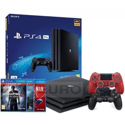 Sony PlayStation 4 Pro 1TB + Marvel's Spider-Man + God of War + Uncharted 4: Kres Złodzieja + 2 pady