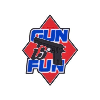 "Emblemat helikon ""gun is fun""-pvc-czerwony (od-gif-rb-25)"