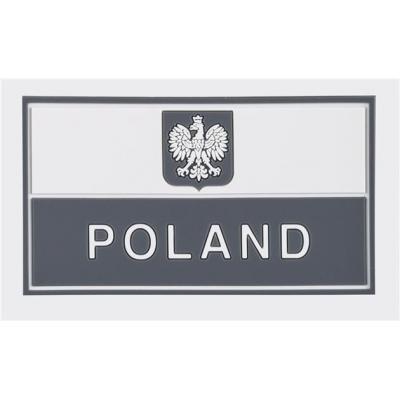 Emblemat helikon flaga pl z godłem (90 x 50 mm) - pvc - szara (od-p29-rb-19)